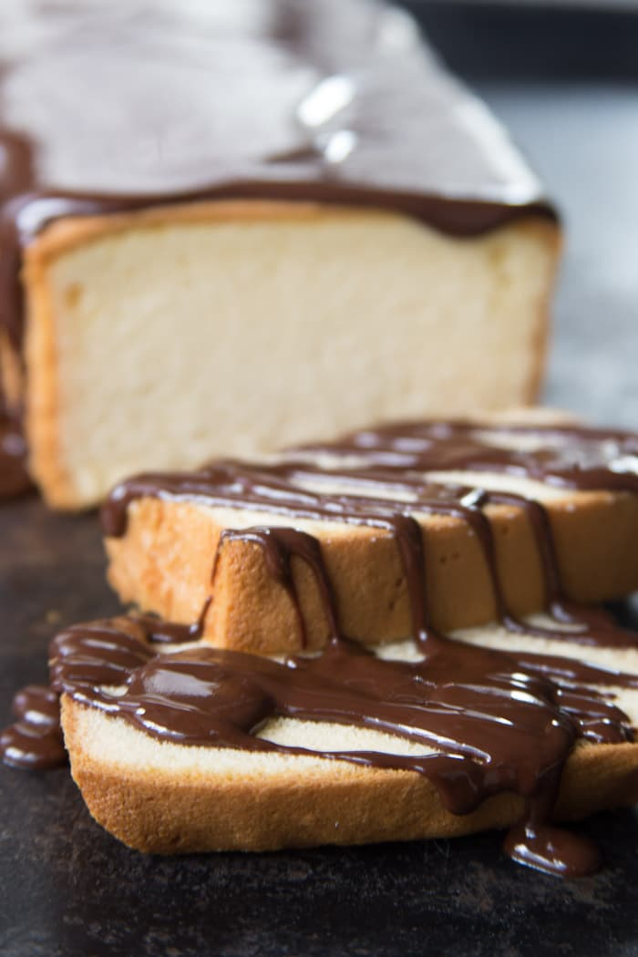 Chocolate glaze drizzled over pound cake