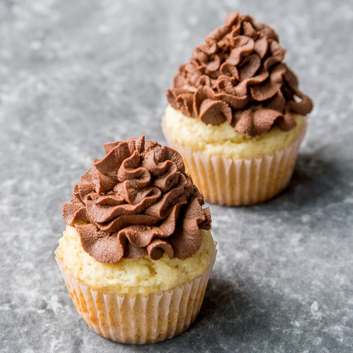 Cupcakes frosted with whipped chocolate ganache frosting
