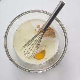 Refrigerator bran muffin wet ingredients in a bowl