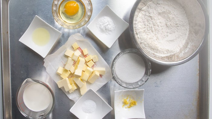 Ingredients measured out for lemon scones