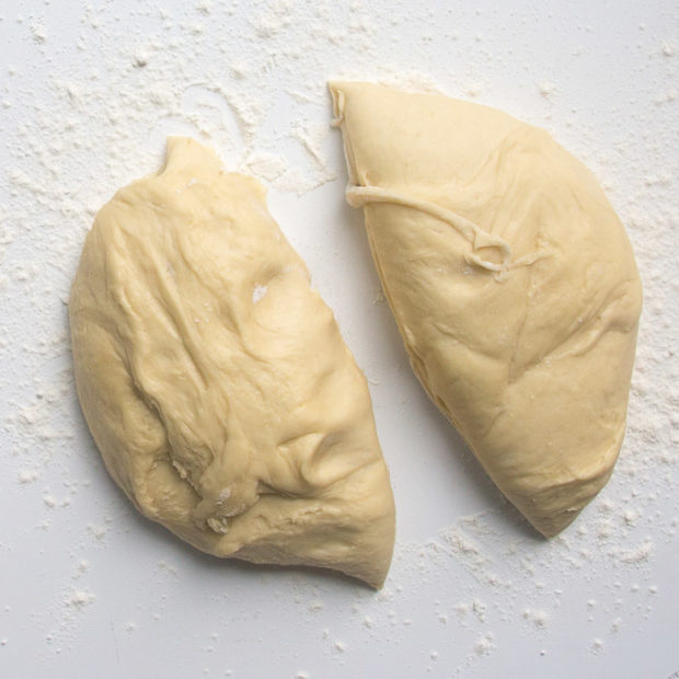 Dough divided in half