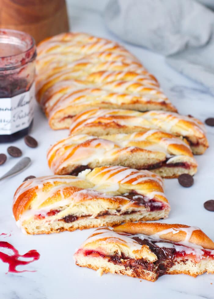 Cherry chocolate danish after being cut