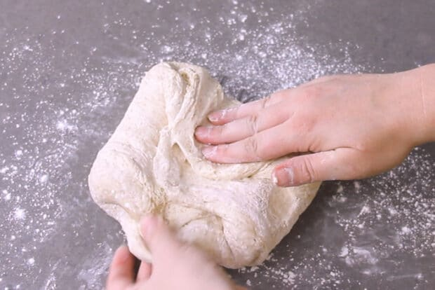 Shaping dough into a boule