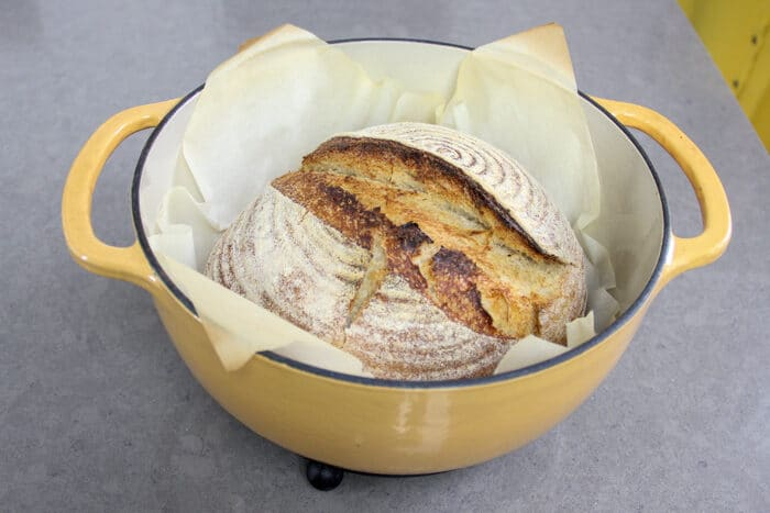 No-knead sourdough after being baked