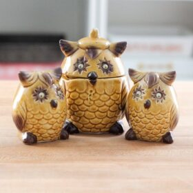 Vintage Owl Salt and Pepper Shakers and Jam Jar